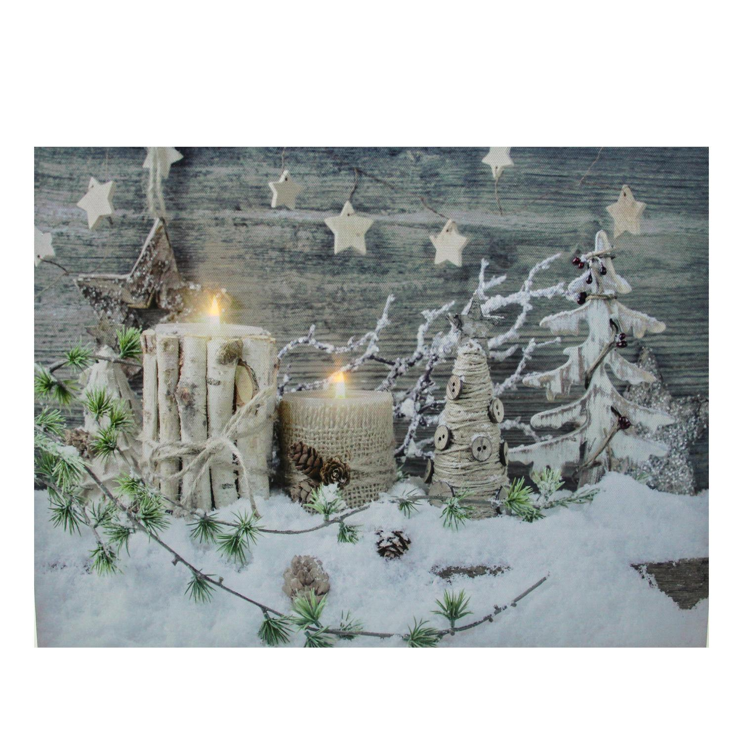LED Lighted Country Rustic Winter Christmas Canvas Wall Art 12