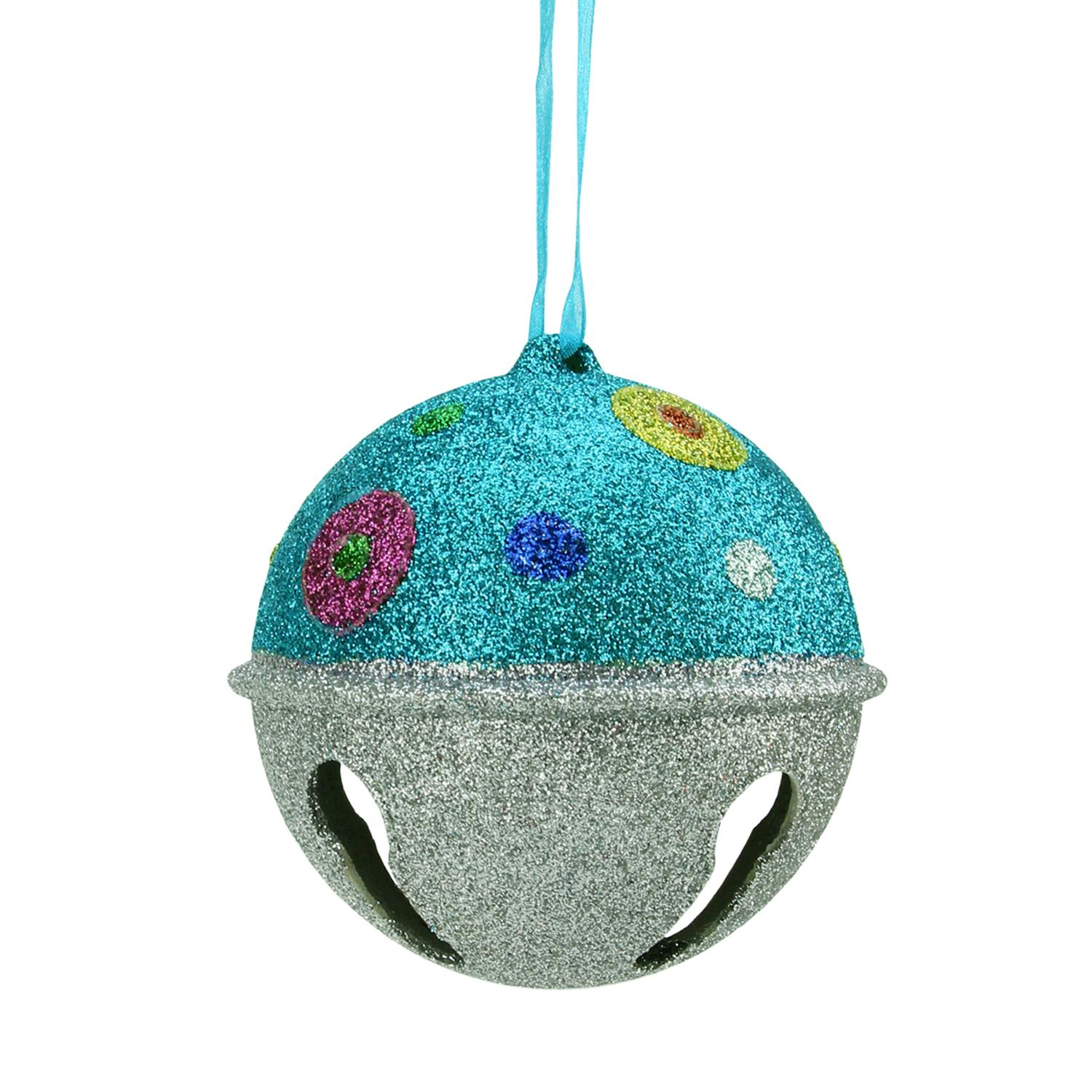 Polka dot christmas ornaments - Candy Fantasy Blue And Silver Glitter Bell With