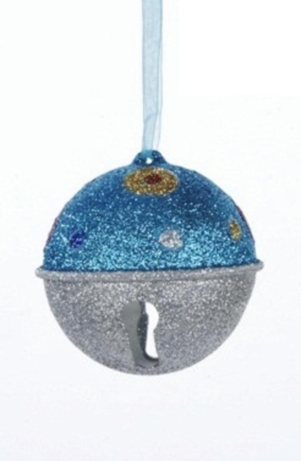 Polka dot christmas ornaments - Image Is Loading Candy Fantasy Blue And Silver Glitter Bell With