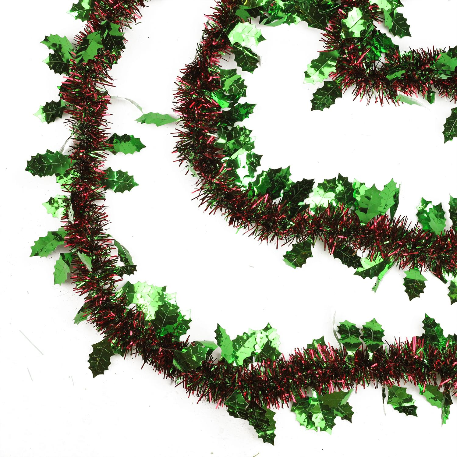 Shiny red and green ply christmas tinsel garland