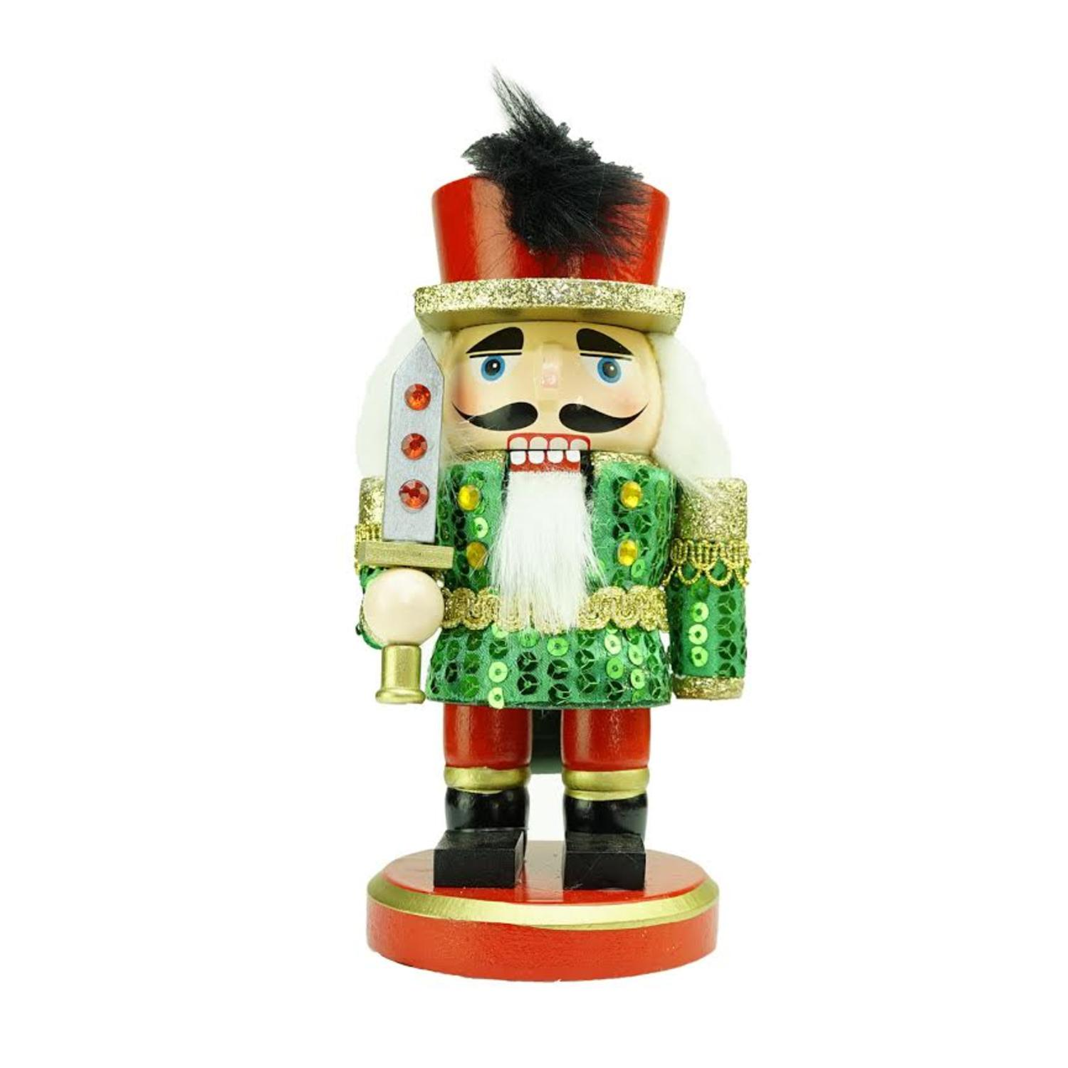 ''7'''' Green  Red and Gold Wooden Christmas Chubby Nutcracker Soldier with SWORD''