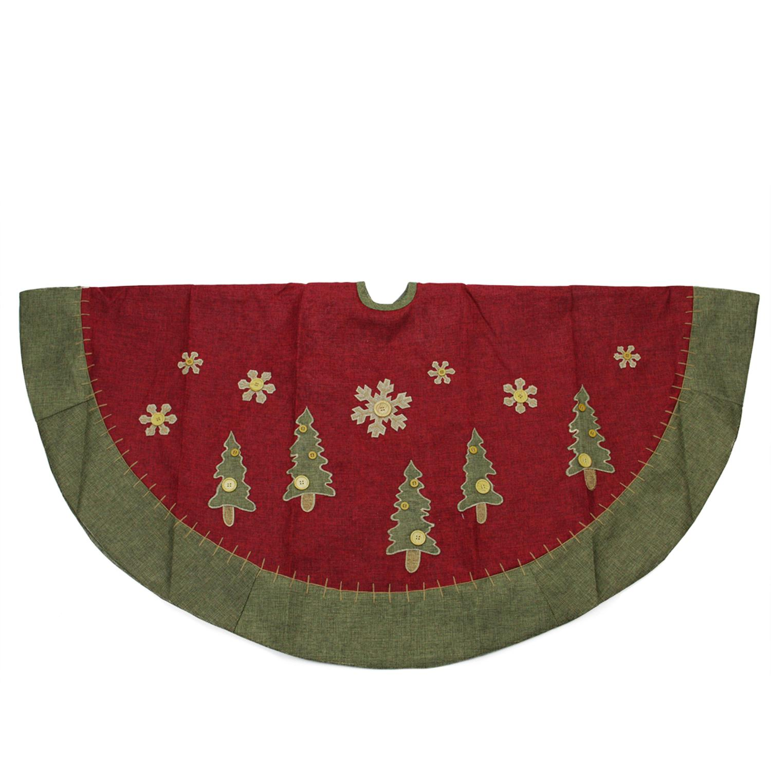 ''48'''' Natural Red and Green Christmas Tree Skirt with BLANKET Stitching Trim''