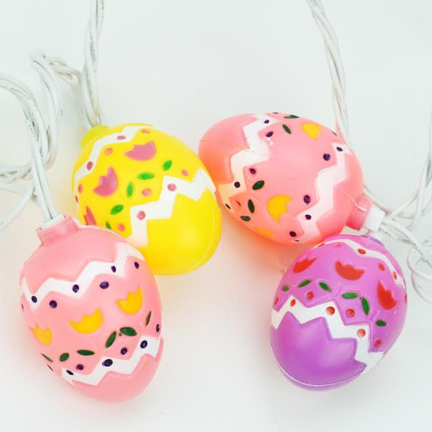 Set of 10 Pastel Multi Colored Easter Egg Spring HOLIDAY Lights-White Wire