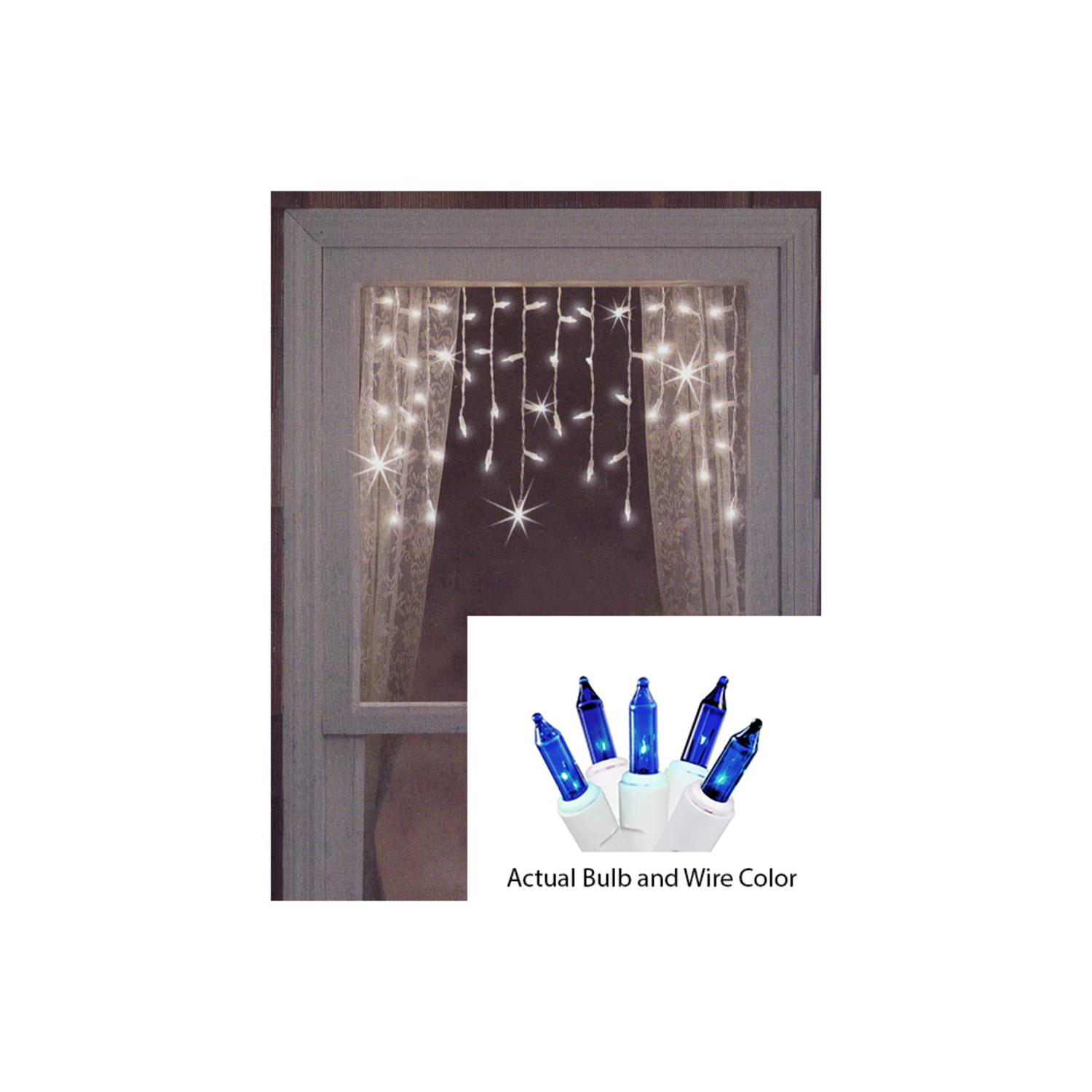 Set of 50 Blue Mini Window CURTAIN Icicle Christmas Lights - White Wire
