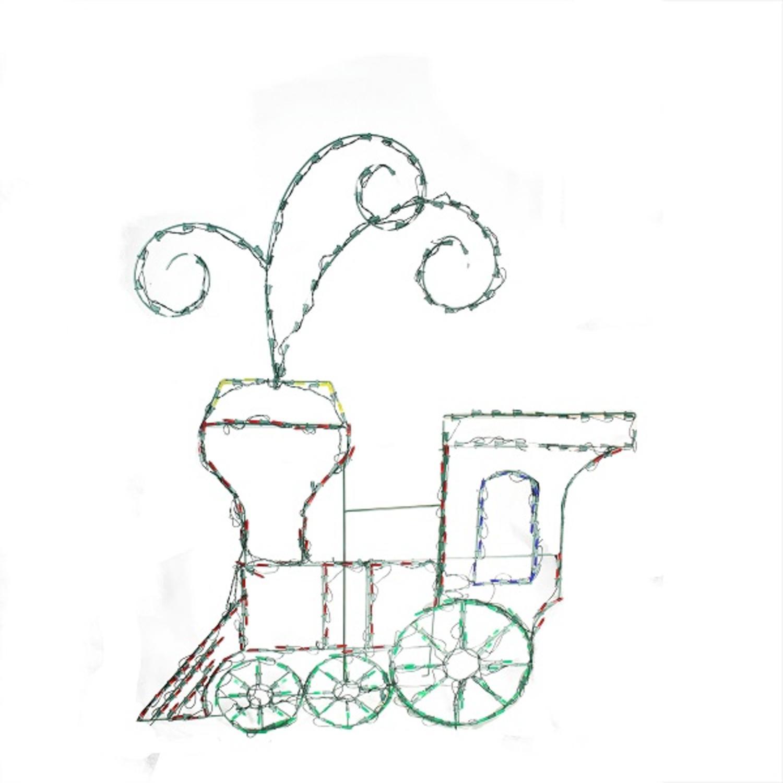 ''60'''' Pre-Lit Multi-Color LED Animotion TOY TRAIN Christmas Yard Art Decoration''