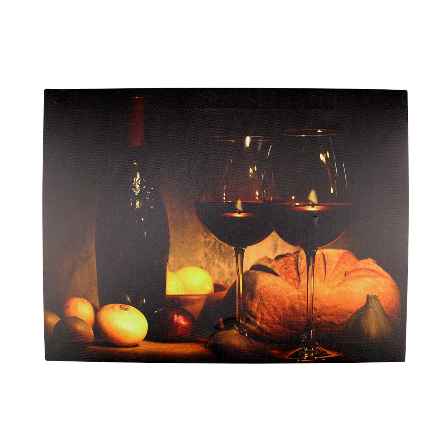 ''LED Lighted Flickering Wine  Bread and Candles Canvas Wall Art 11.75'''' x 15.75''''''