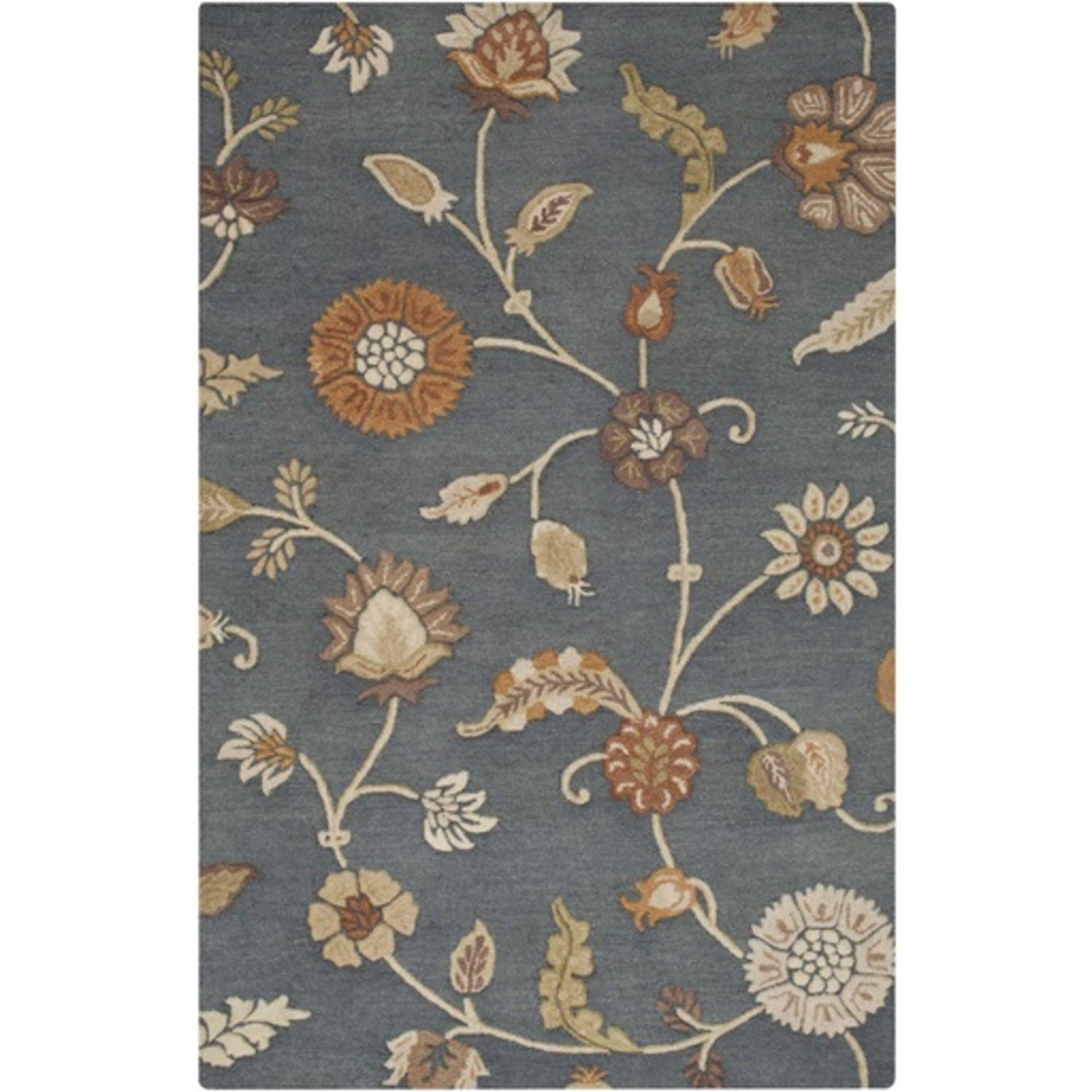 2' X 3' Breezy Garden Teal Blue, Orange Rust And Taupe