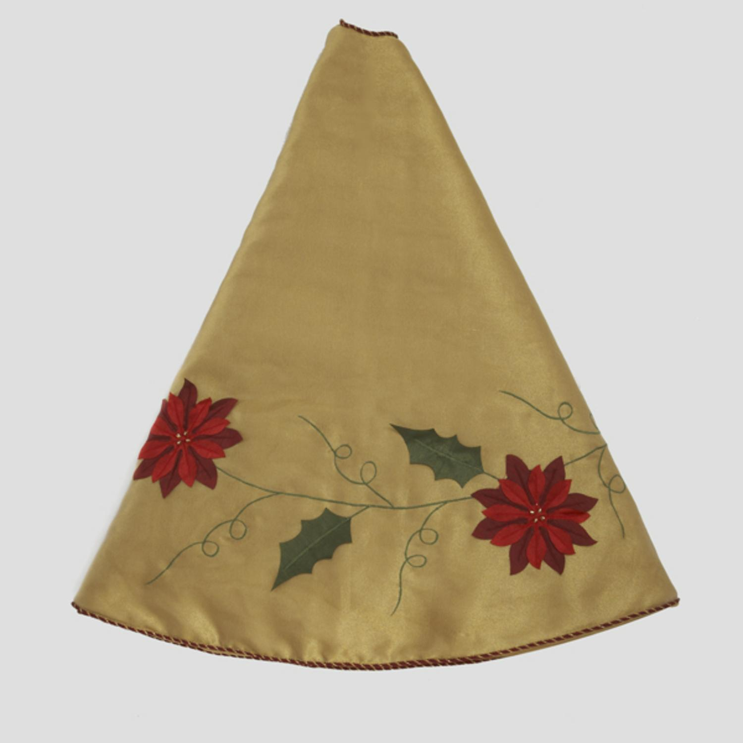 Quot elegant gold christmas tree skirt with poinsettia trim