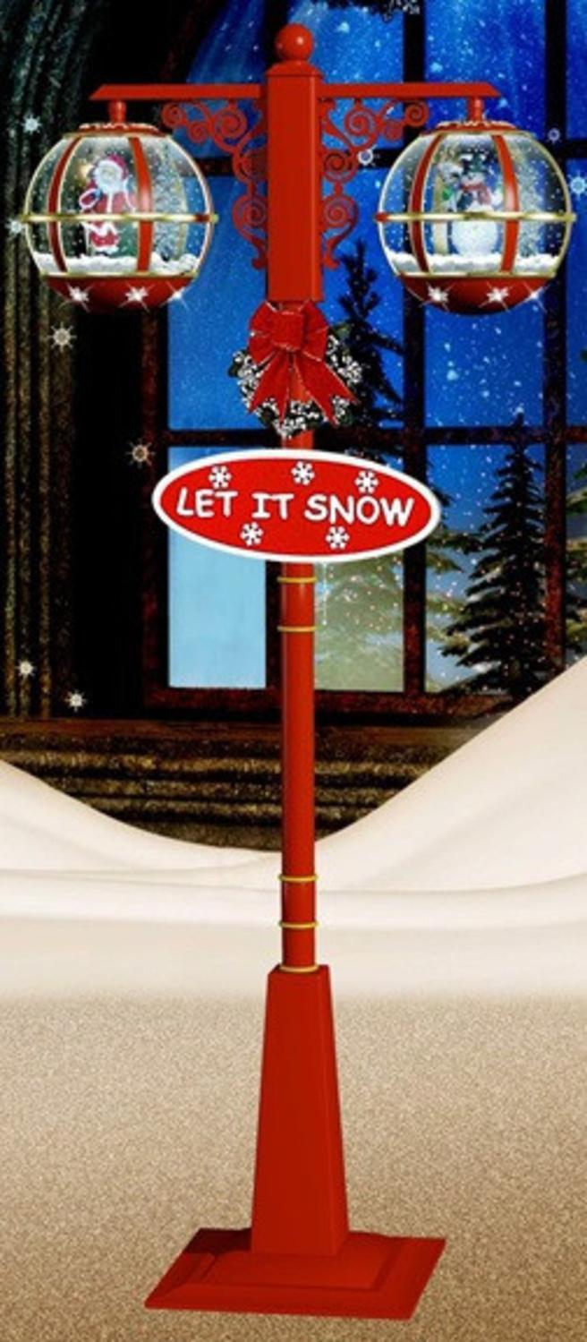 ''74'''' Lighted Red and Gold Musical Snowing Santa and Snowman Double Christmas Street LAMP''