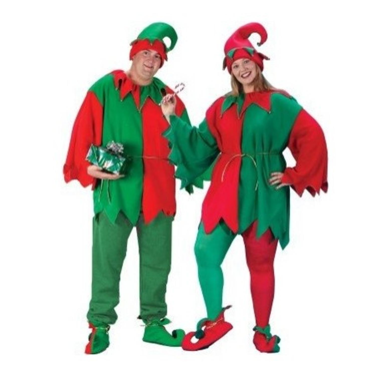 red and green unisex adult 5 piece christmas elf costume set adult menswomens plus size