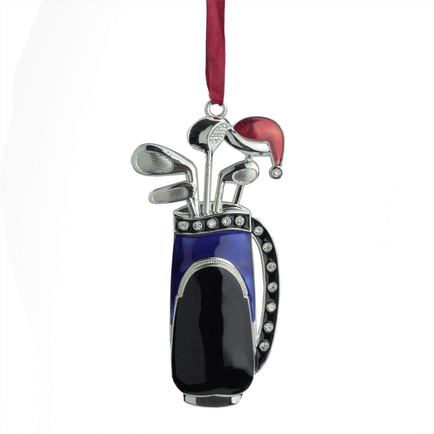 ''4'''' Regal Silver-Plated Blue GOLF Bag Holiday Ornament with European Crystals''