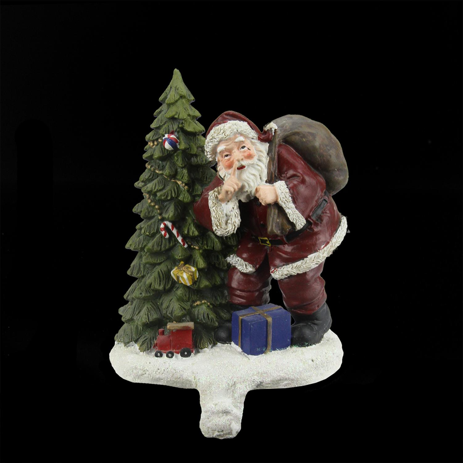 ''6.25'''' Santa Claus and Tree with HOLIDAY Gifts Christmas Stocking Holder''