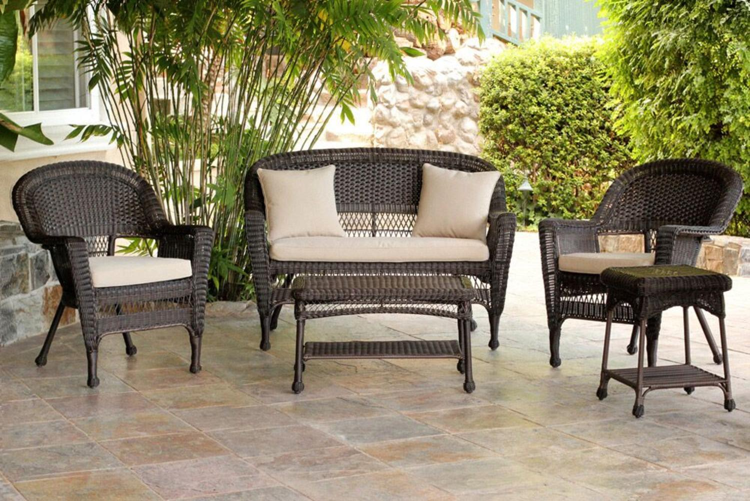 5 piece espresso wicker patio chair loveseat table for Best deals on patio furniture sets