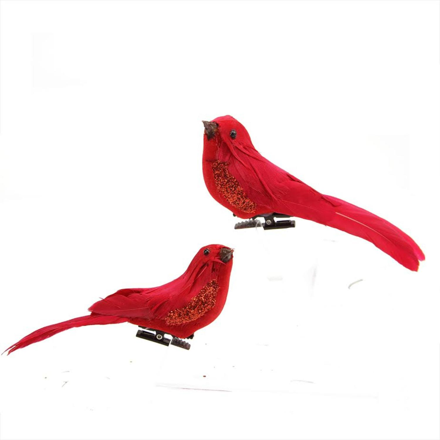 Set of 2 Left and Right Facing Red Clip-On Bird Christmas Ornaments
