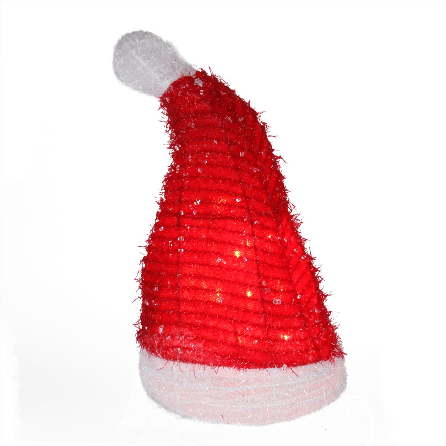 ''12.75'''' Lighted Iced Tinsel Santa HAT Christmas Tree Topper - Clear Lights''