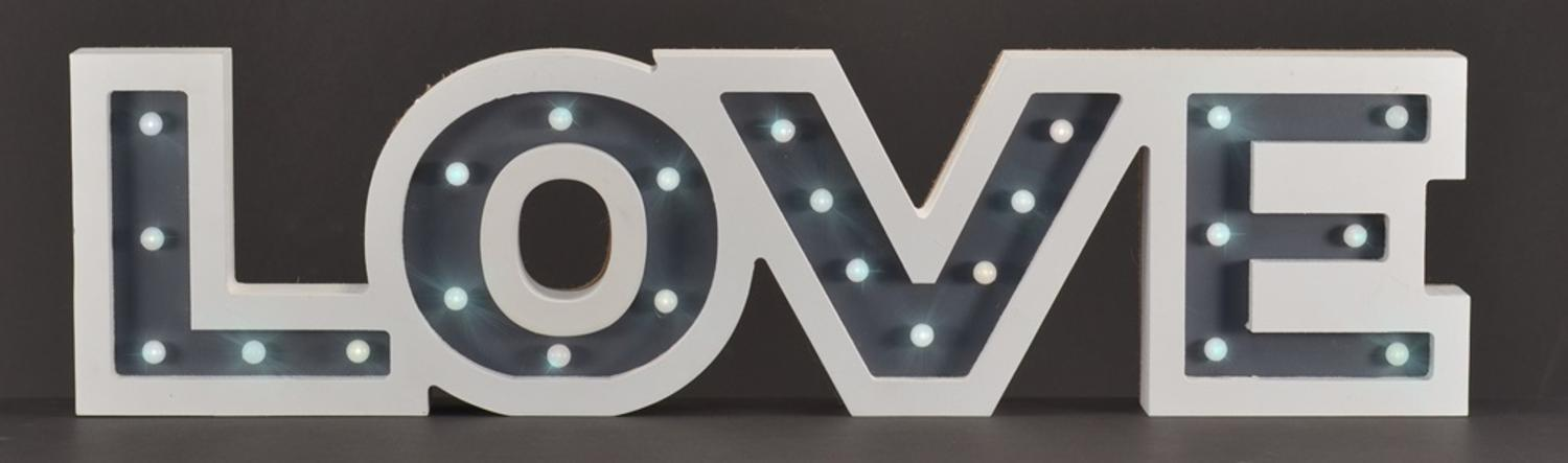 ''23'''' Pre-Lit Battery Operated White and Gray Wooden Warm White LED ''''Love'''' Marquee SIGN with Timer