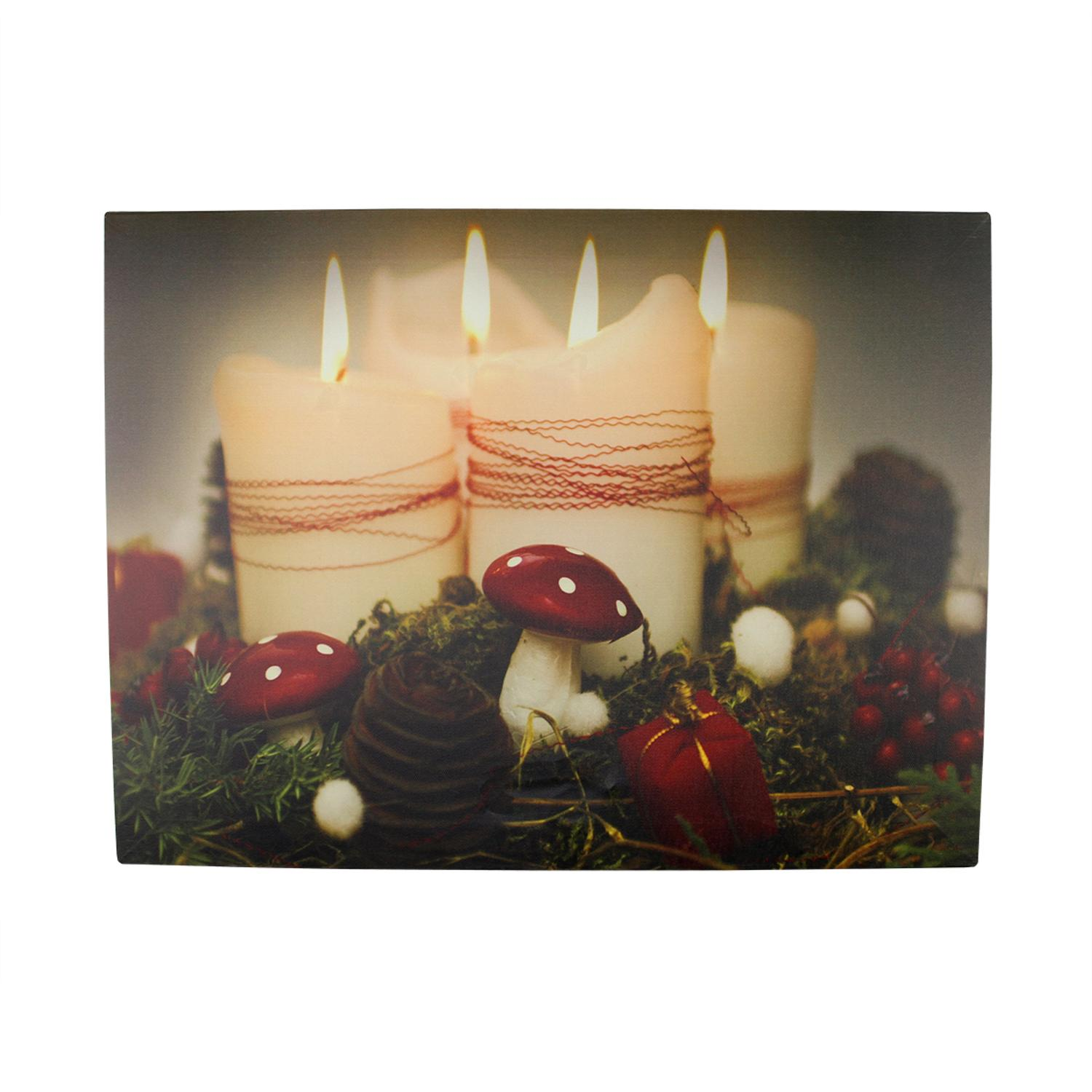 ''LED Lighted Flickering HOLIDAY Candles Christmas Canvas Wall Art 11.75'''' x 15.75''''''