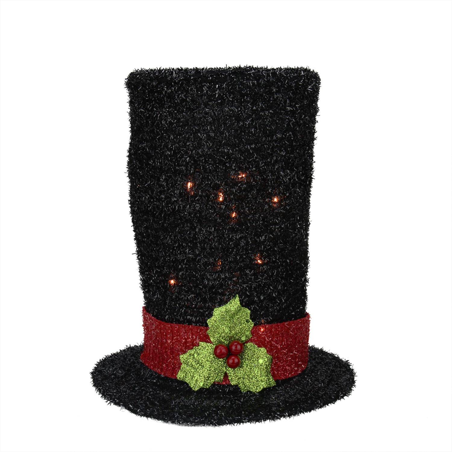 ''9'''' Lighted Black Tinsel Snowman Top HAT Christmas Tree Topper - Clear Lights''