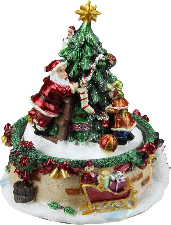 ''6'''' Animated Santa Claus and Christmas Tree Winter Scene Rotating Music Box''