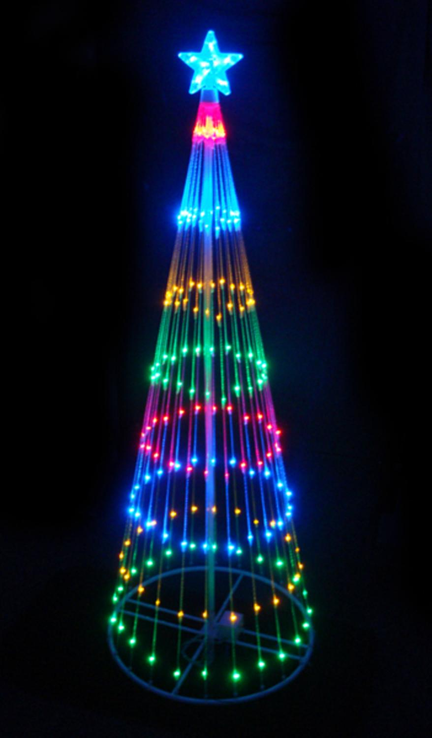 9' Multi-Color LED Light Show Cone Christmas Tree Lighted Yard Art ...