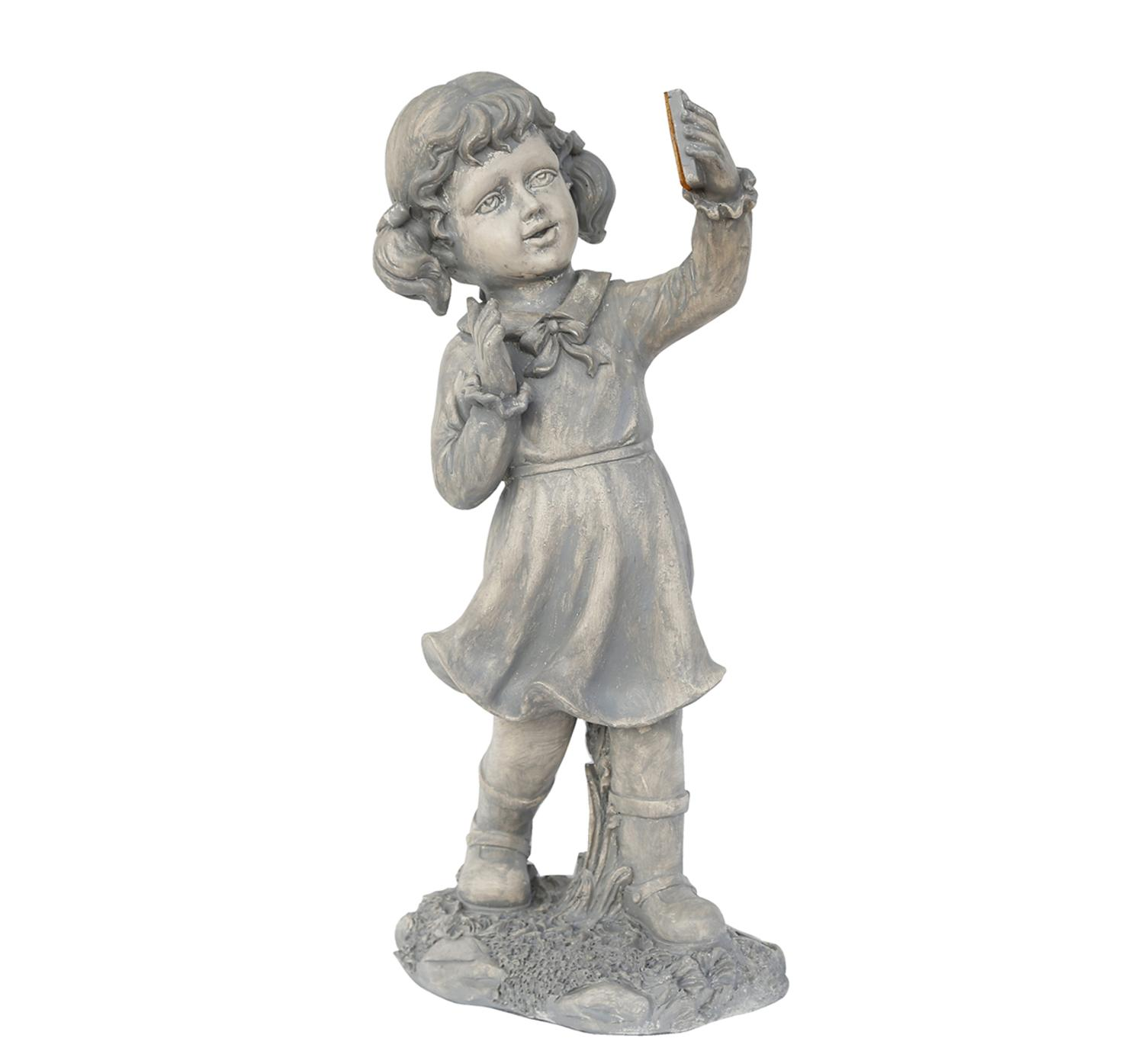 ''18'''' Distressed Gray Girl with CELL PHONE Solar Powered LED Lighted Outdoor Patio Garden Statue''