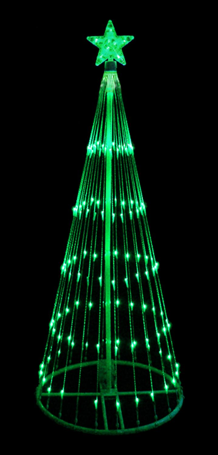 12 green led light show cone christmas tree lighted yard art decoration - Lighted Christmas Tree Yard Decorations