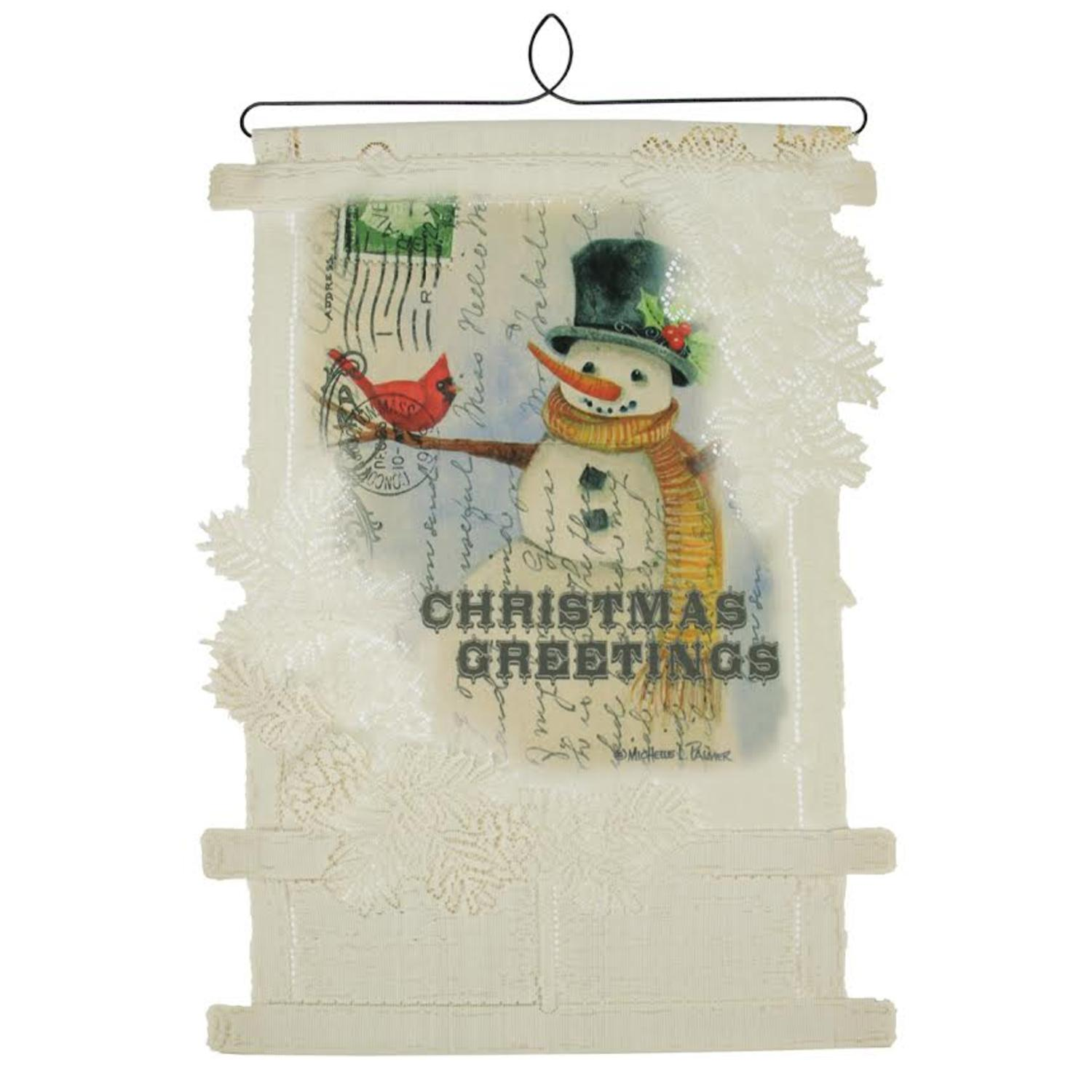 Heritage lace 20 country christmas greetings snowman - Christmas card wall holder ...