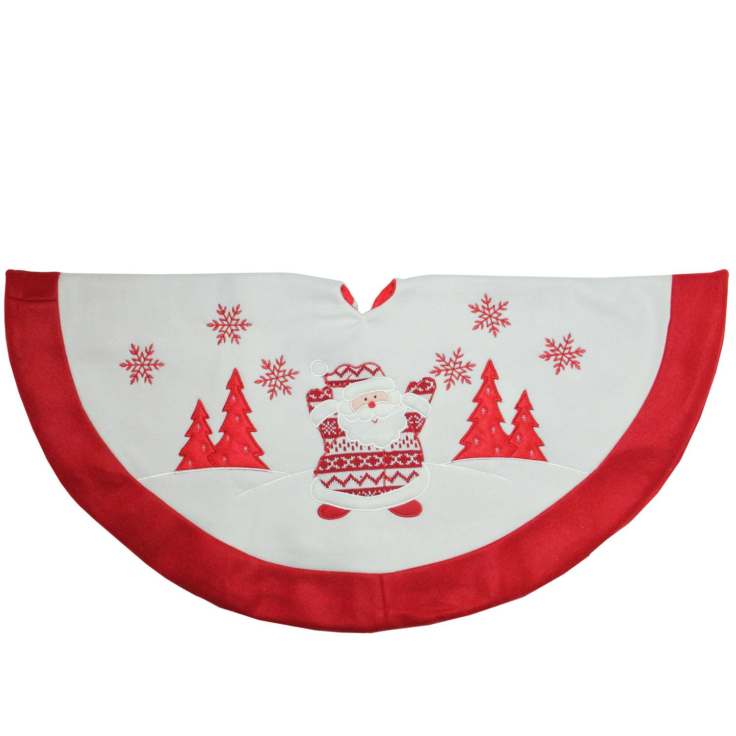 ''36'''' Red and White Knit Santa Claus Embroidered Christmas Tree Skirt''