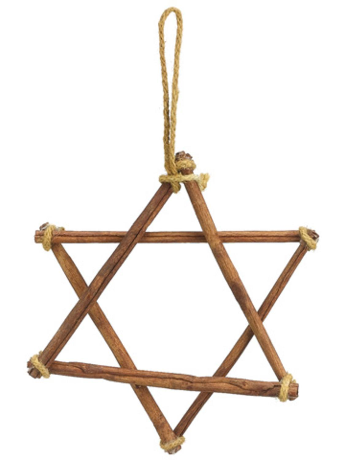 ''8.5'''' Brown Twine and Cinnamon Sticks Star of David Hanukkah HOLIDAY Ornament''