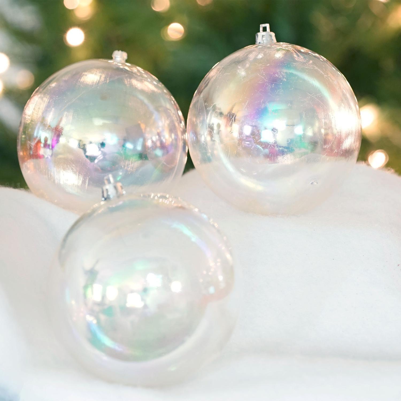 northlight 12ct shatterproof clear iridescent christmas ornaments 4 - Iridescent Christmas Tree Decorations
