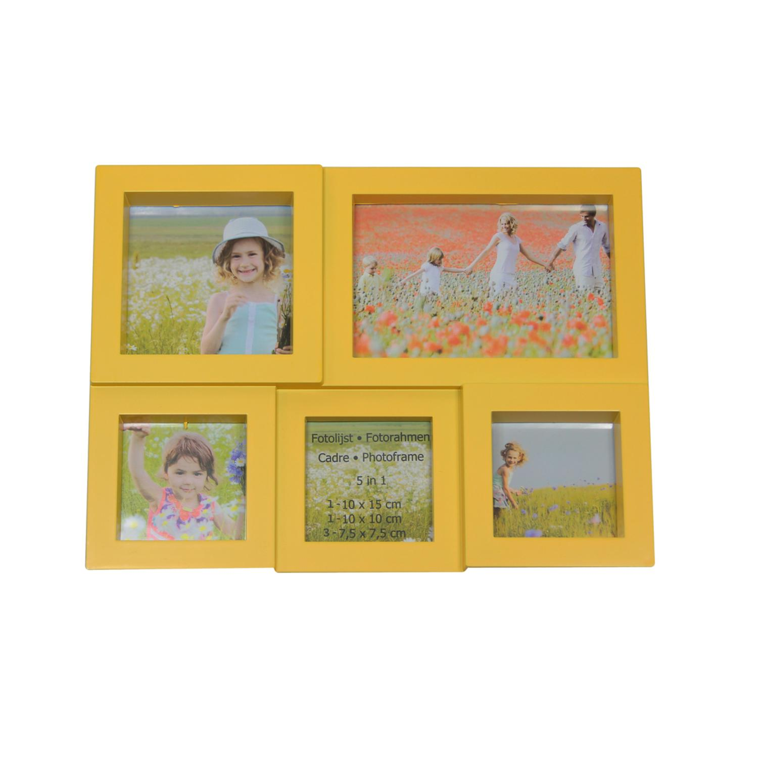 ''11.5'''' Yellow Multi-Sized PUZZLEd Photo Picture Frame Collage Wall Decoration''