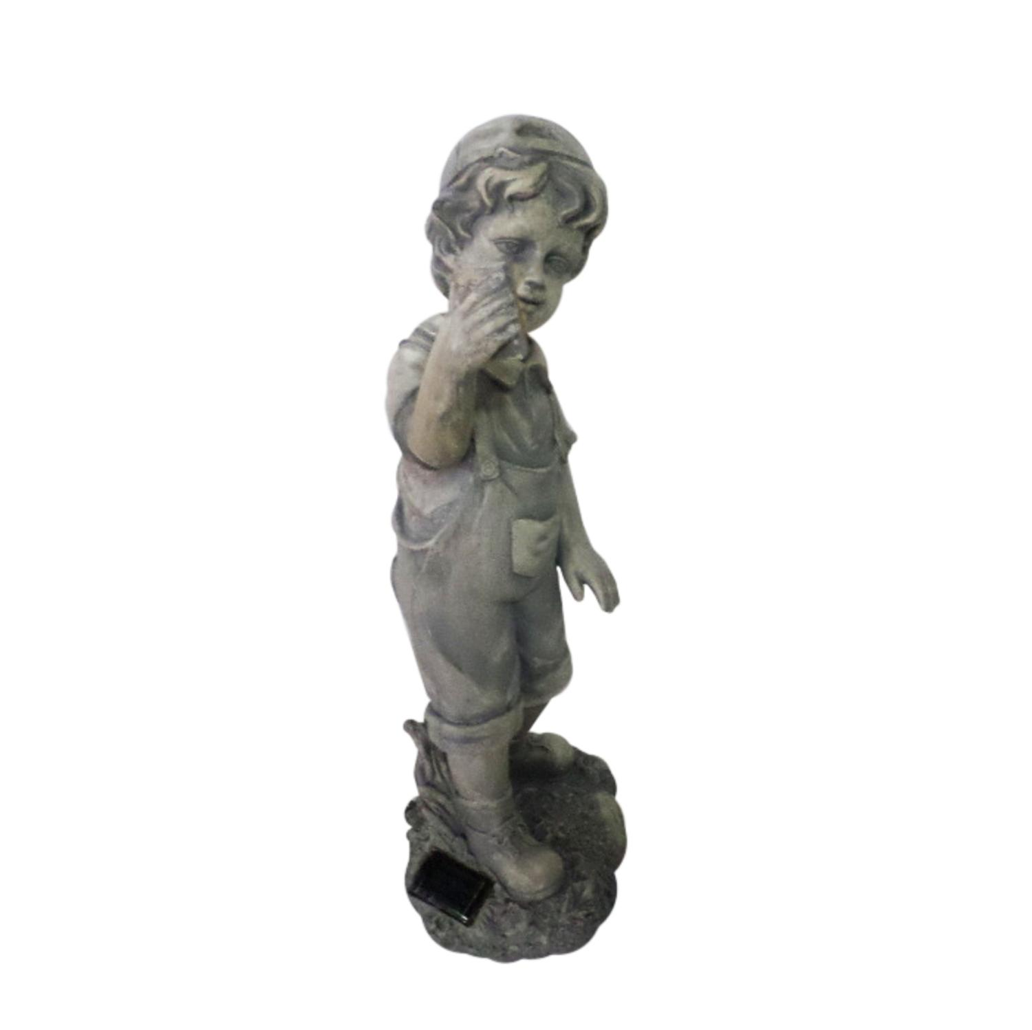 ''18'''' Distressed Gray Boy with CELL PHONE Solar Powered LED Lighted Outdoor Patio Garden Statue''