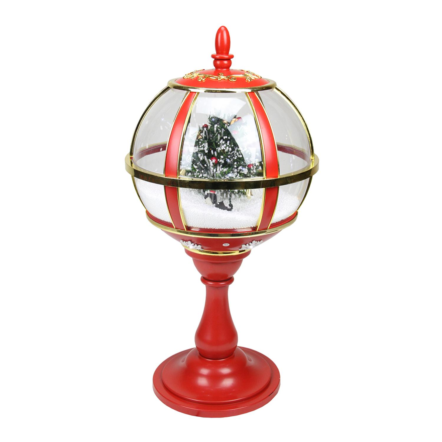 ''23.5'''' Lighted Red and Gold Musical Snowing Christmas Tree HOLIDAY Table Top Street Lamp''