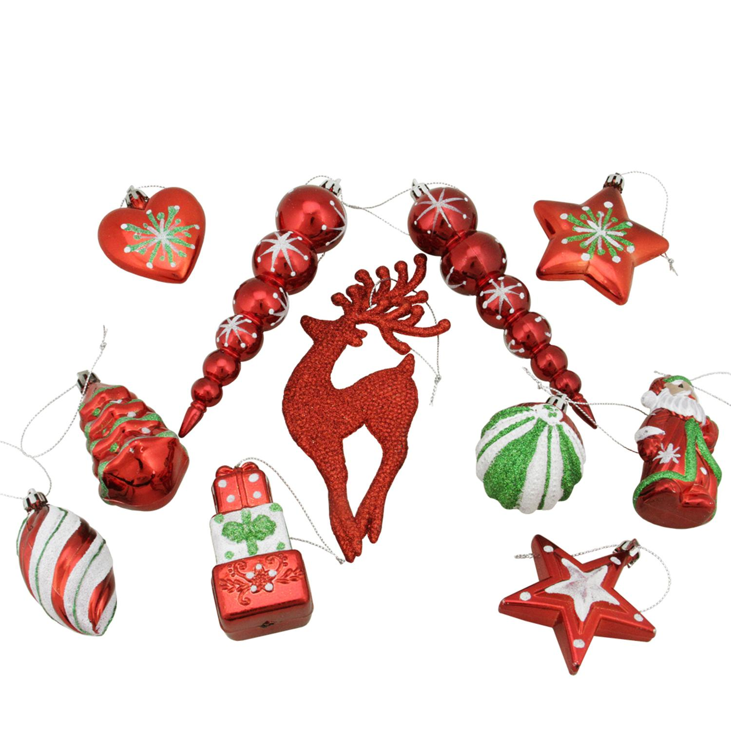 11ct Shiny Red HOLIDAY Themed Glittered Shatterproof Christmas Ornaments