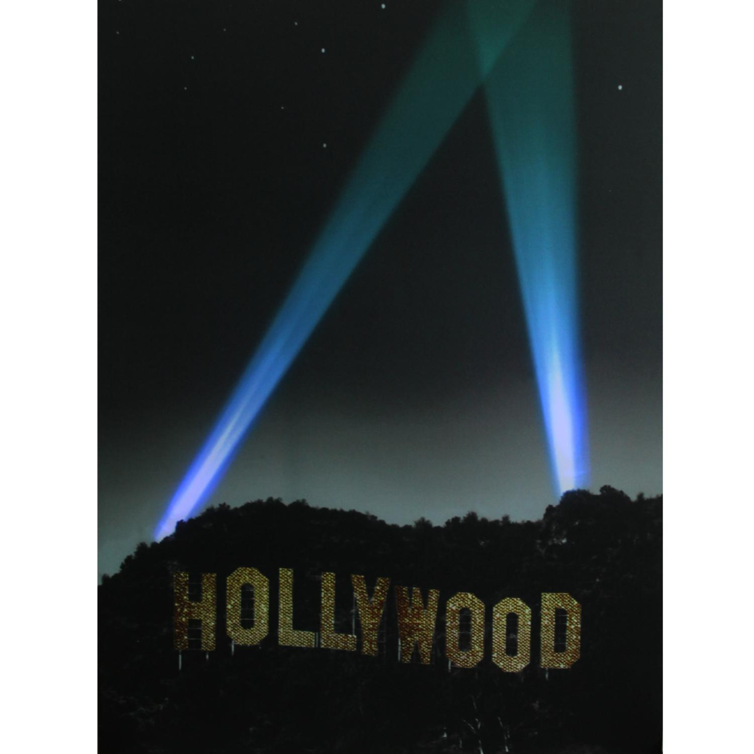 ''LED Lighted Hollywood SIGN with Spot Lights Canvas Wall Art 19.5'''' x 27.5''''''