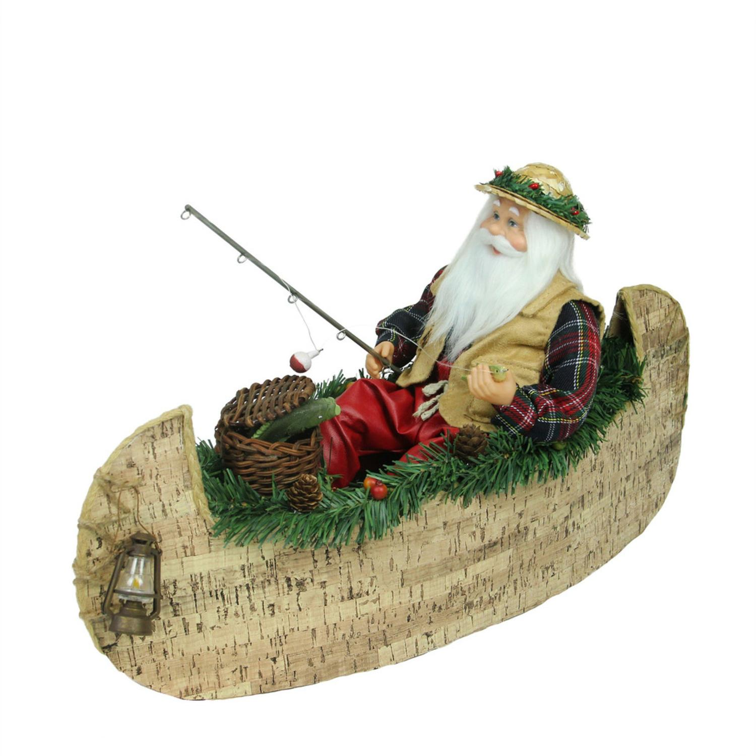 ''18.5'''' Rustic Lodge FISHING Santa Claus in a Canoe Christmas Tabletop Decoration''