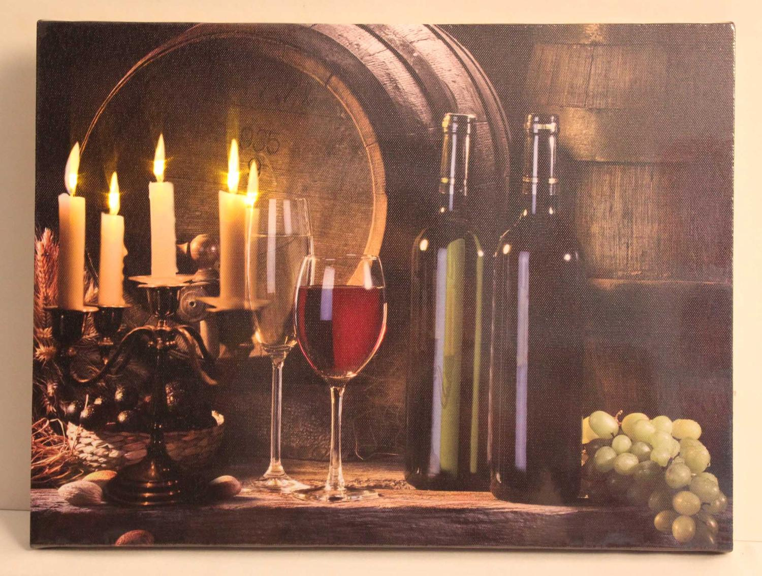 ''LED Lighted Flickering Candles and Wine Canvas Wall Art 11.75'''' x 15.75''''''