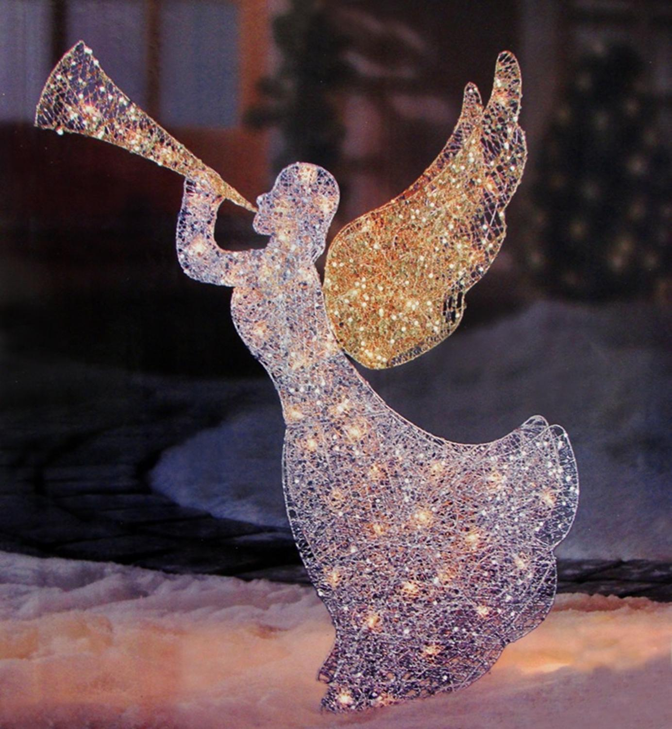 46 lighted glitter sequin 3 d angel with trumpet christmas outdoor decoration clear lights - Lighted Christmas Angel Yard Decor