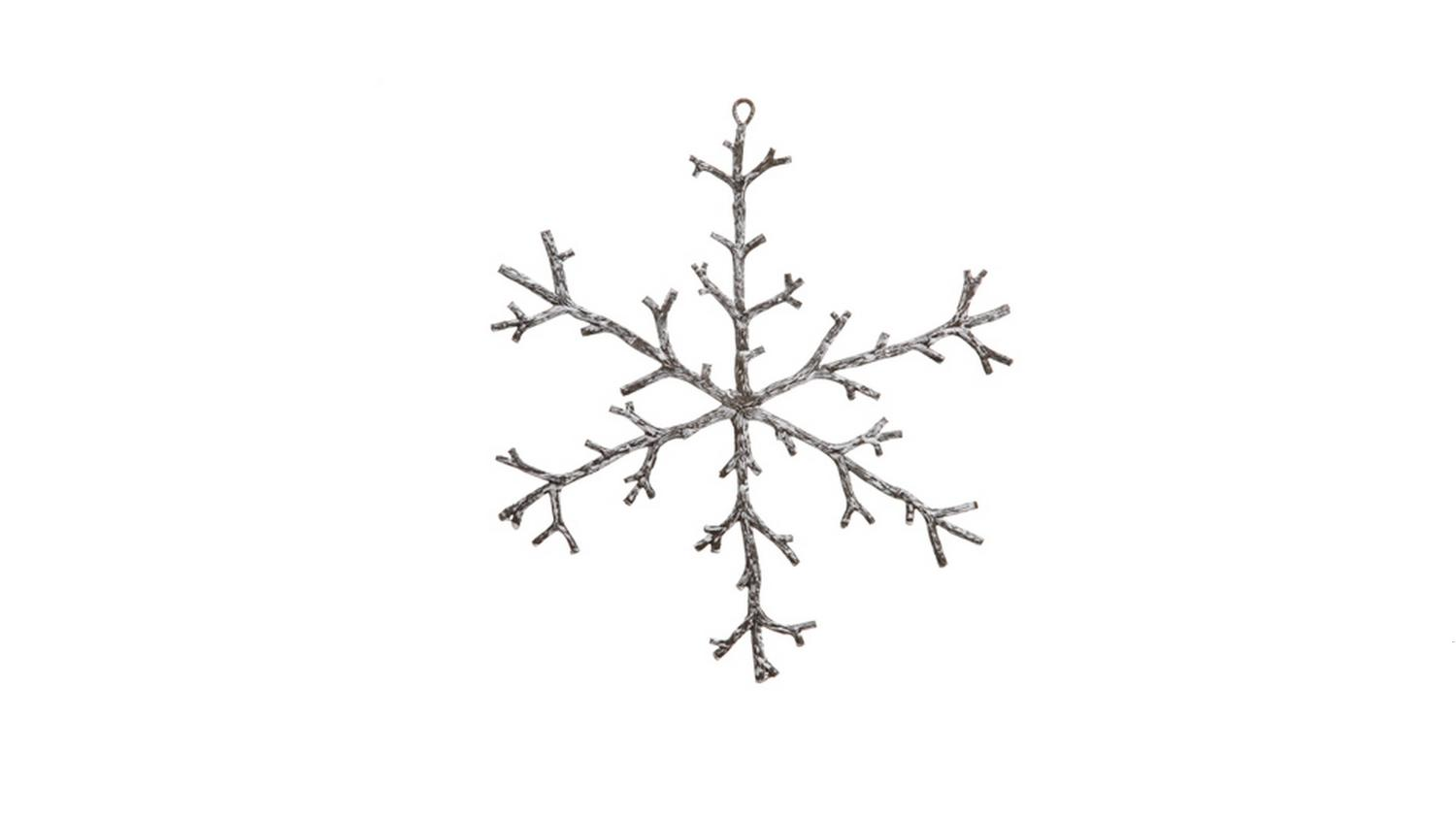 ''12'''' URBAN Nature Rustic Brown and Snowy White Snowflake Christmas Ornament''