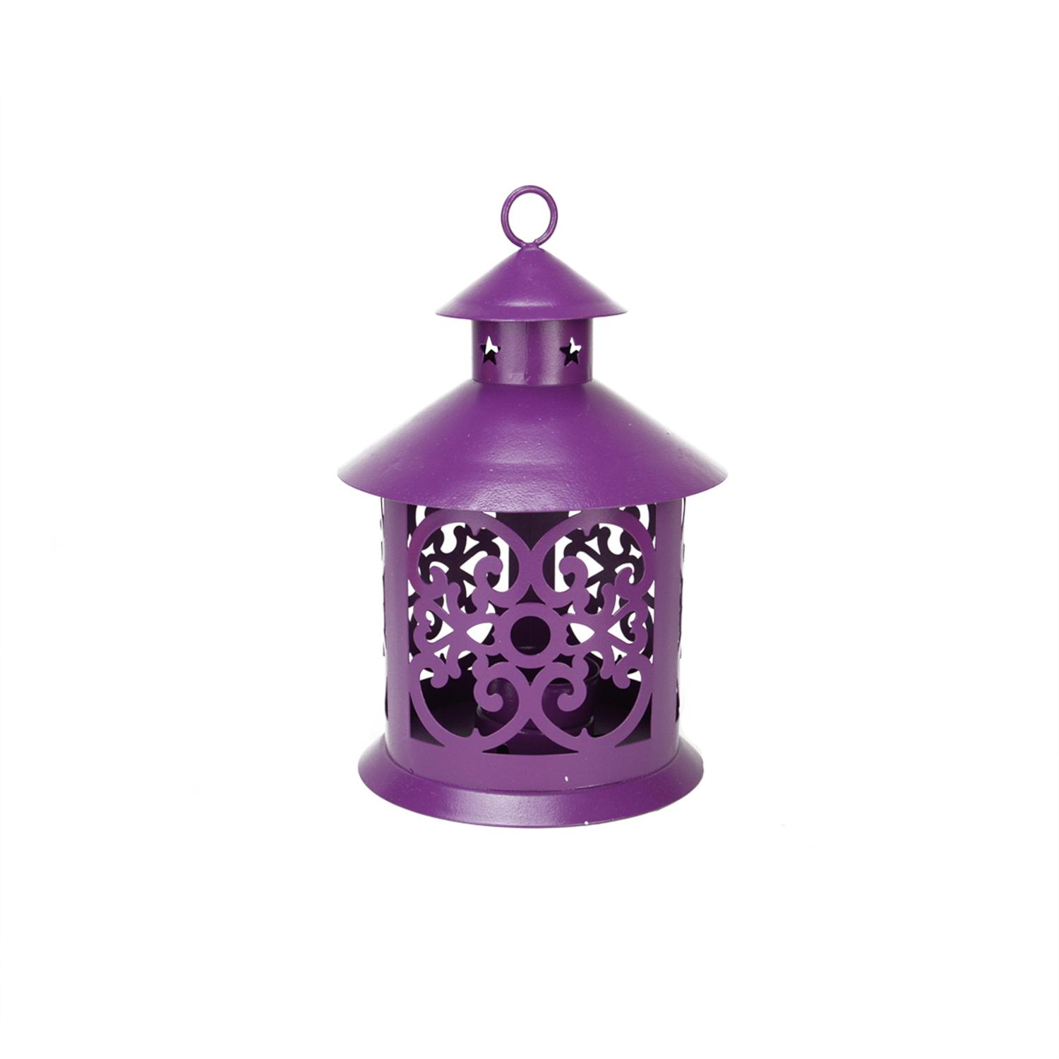 ''8'''' Shiny Purple Votive or TEALIGHT Candle Holder Lantern with Star and Scroll Cutouts''