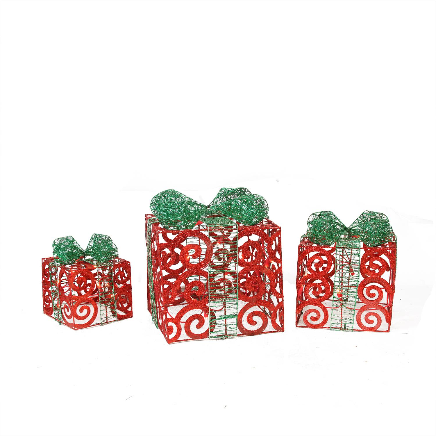 Set Of 3 Lighted Red Swirl Glitter Gift Boxes Christmas