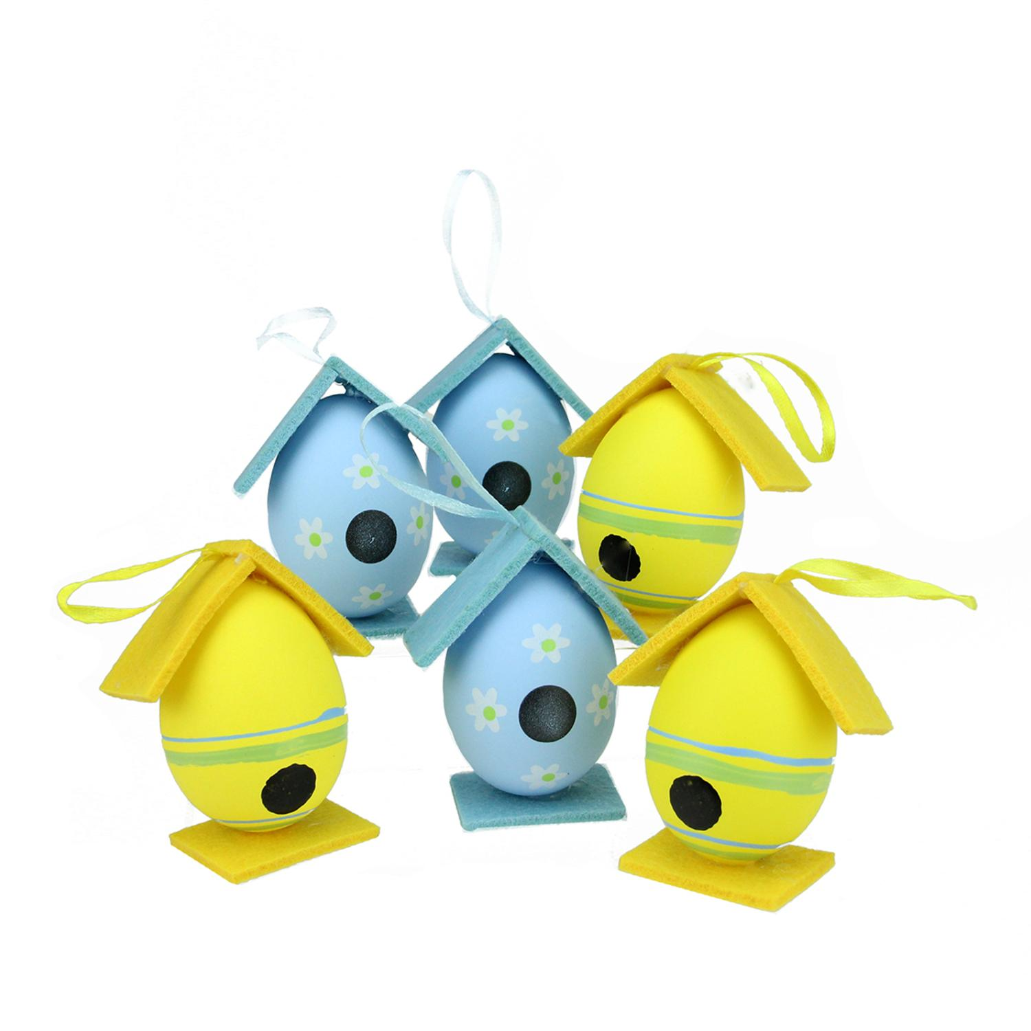 ''Set of 6 Yellow and Blue Decorative Floral Painted Design Spring Easter Egg BIRDHOUSE Ornaments 3''''