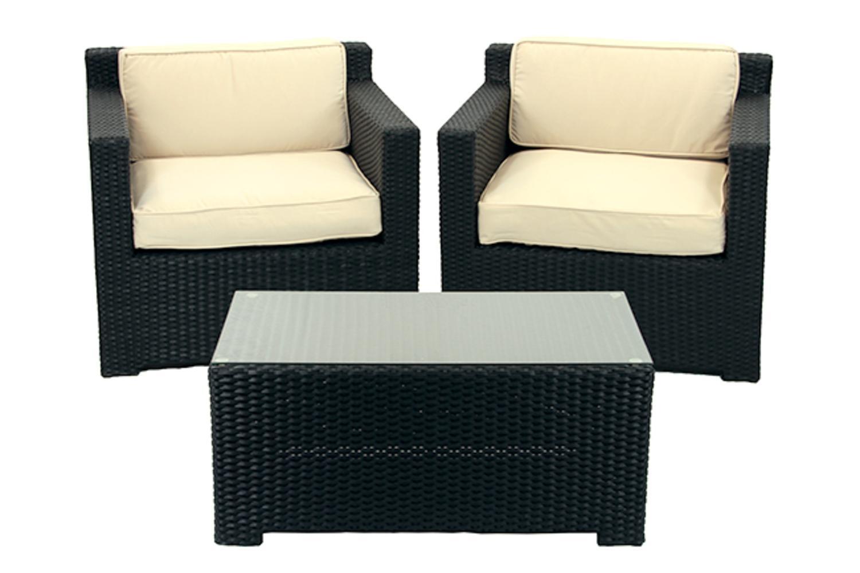 Cc Outdoor Living 3 Piece Black Resin Wicker Patio Furniture Set