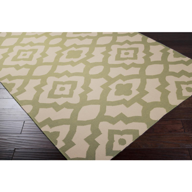 8' X 11' Brise-Soleil Khaki Green Wool Area Throw Rug