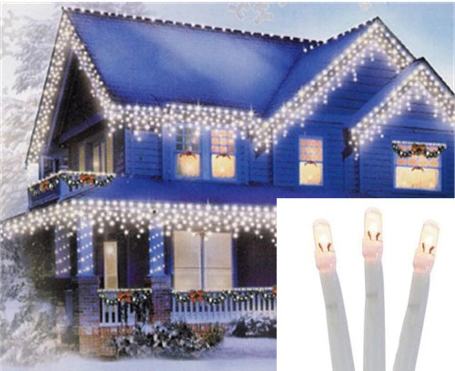 set of 96 twinkling warm white led christmas icicle lights connect 24v extension set white wire