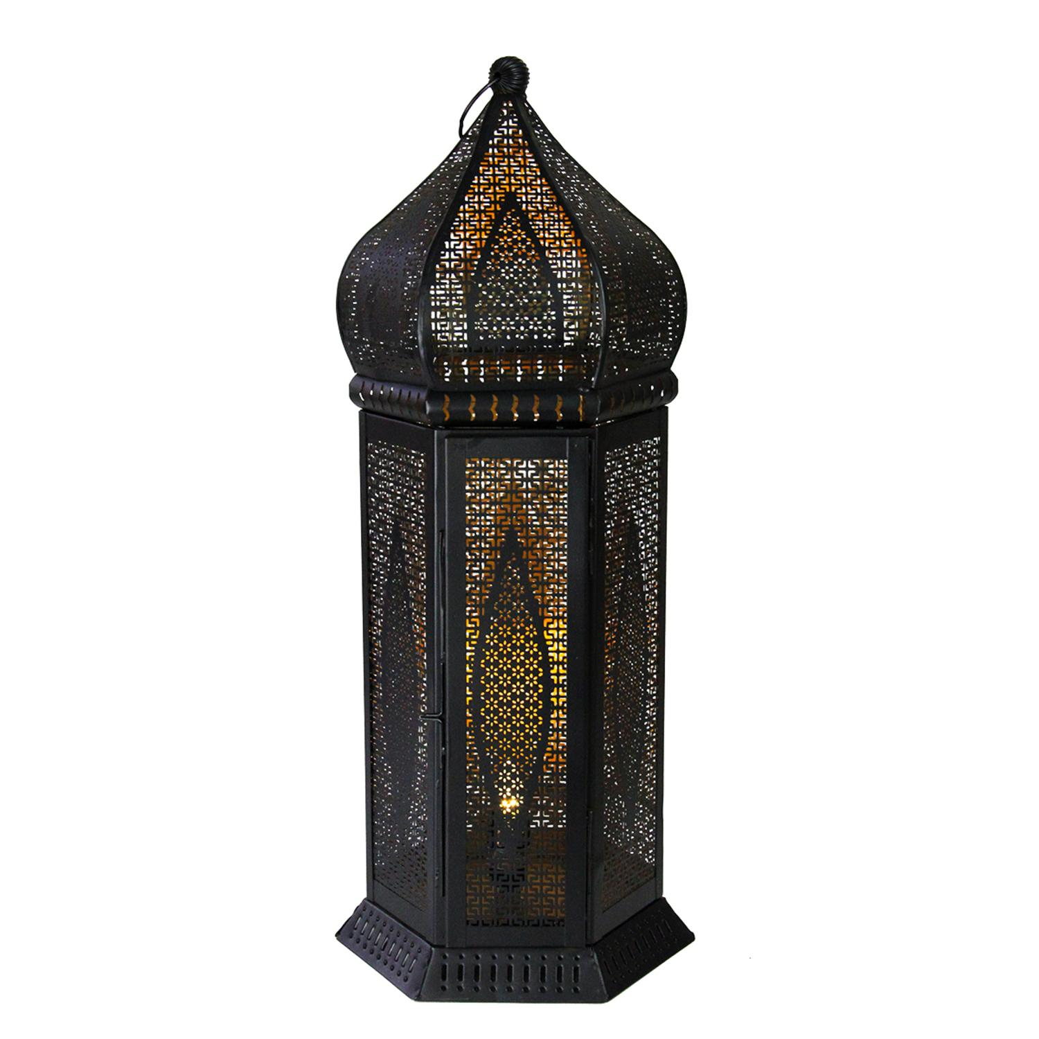 ''21.25'''' Black and Gold Moroccan Style Cut-Out Table Lantern LAMP''