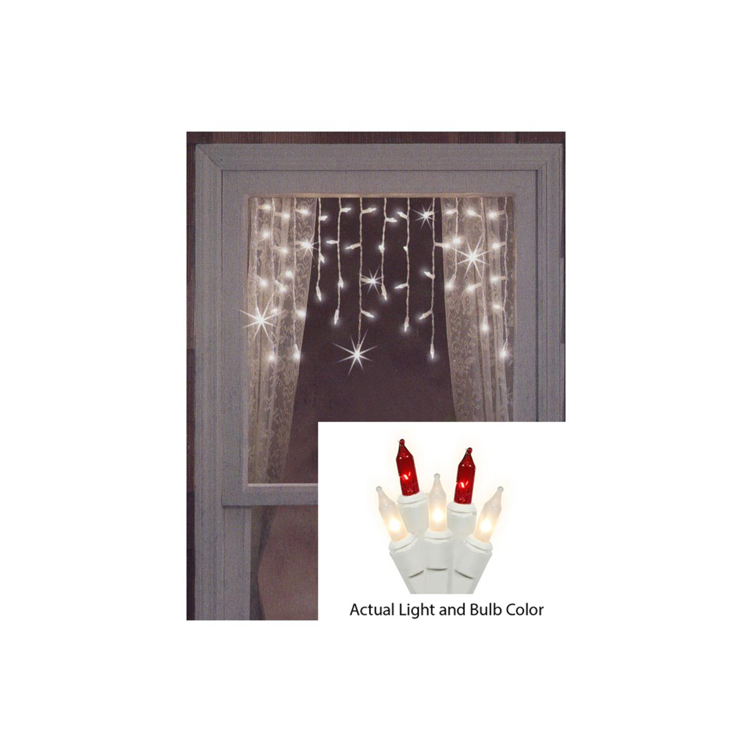 Brite Star 50ct Red Clear Mini Window Curtain Icicle Christmas ...