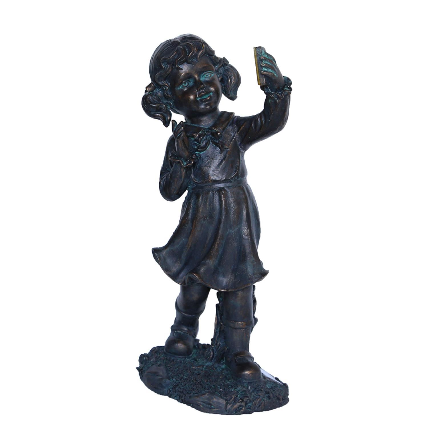 ''18'''' Distressed Black & Bronze Girl with CELL PHONE Solar Powered LED Lighted Outdoor Patio Garden