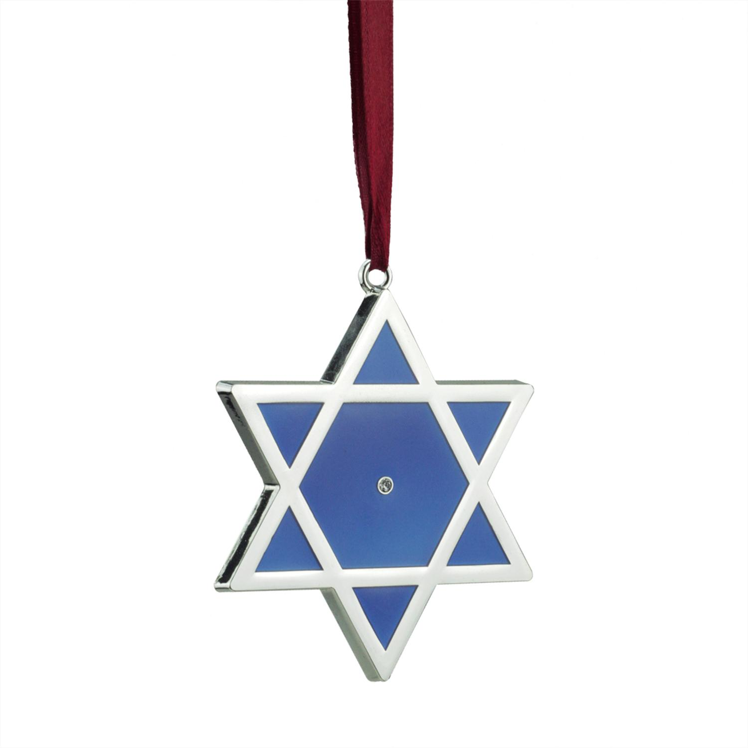 ''3'''' Regal Shiny Silver-Plated Blue Star of David Hanukkah HOLIDAY Ornament with European Crystal''