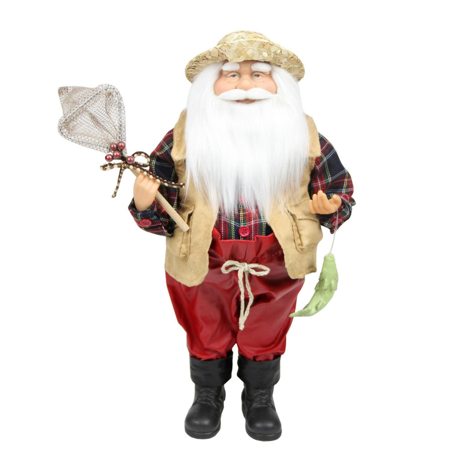 ''18'''' Rustic Lodge Fisherman Santa Claus with Net and Fish Christmas Tabletop Decoration''